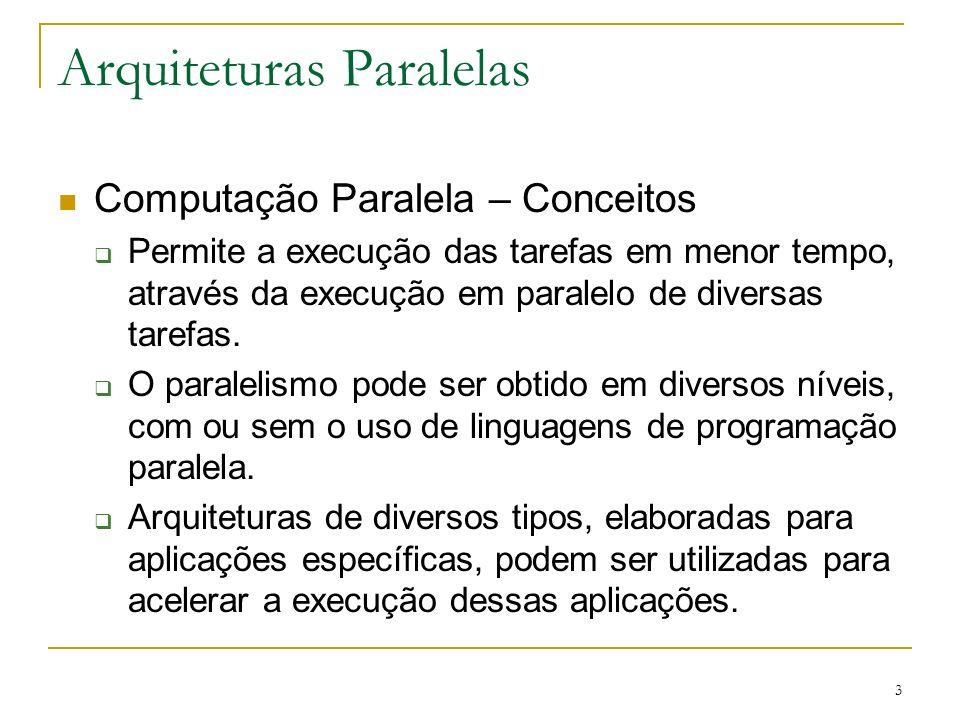 4 Arquiteturas Paralelas Computação Paralela – Conceitos Programação Seqüencial Programação Concorrente Um servidor, atendendo vários clientes através de uma política de escalonamento no tempo Programação Paralela Vários servidores, atendendo vários clientes simultaneamente no tempo