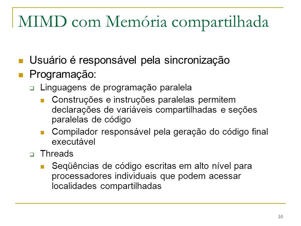 30 MIMD com Memória compartilhada Usuário é responsável pela sincronização Programação: Linguagens de programação paralela Construções e instruções pa