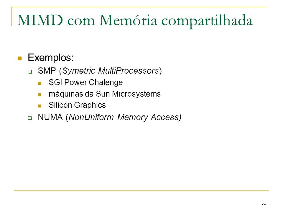 31 MIMD com Memória compartilhada Exemplos: SMP (Symetric MultiProcessors) SGI Power Chalenge máquinas da Sun Microsystems Silicon Graphics NUMA (NonU
