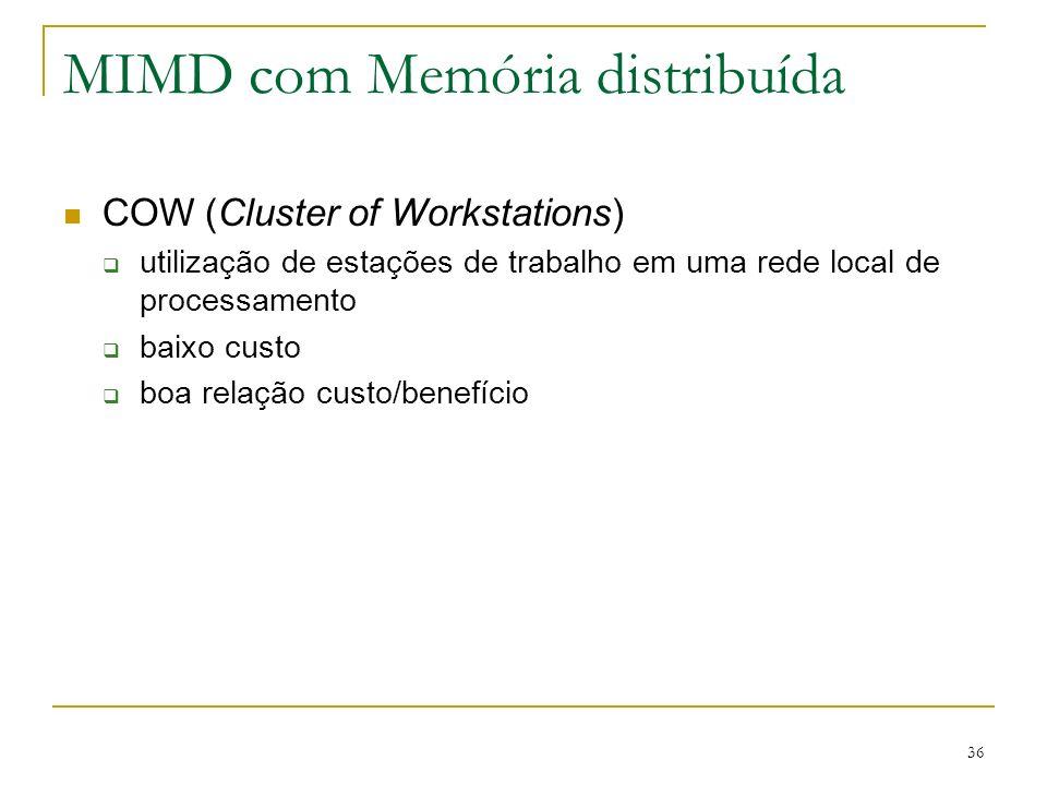 36 MIMD com Memória distribuída COW (Cluster of Workstations) utilização de estações de trabalho em uma rede local de processamento baixo custo boa re