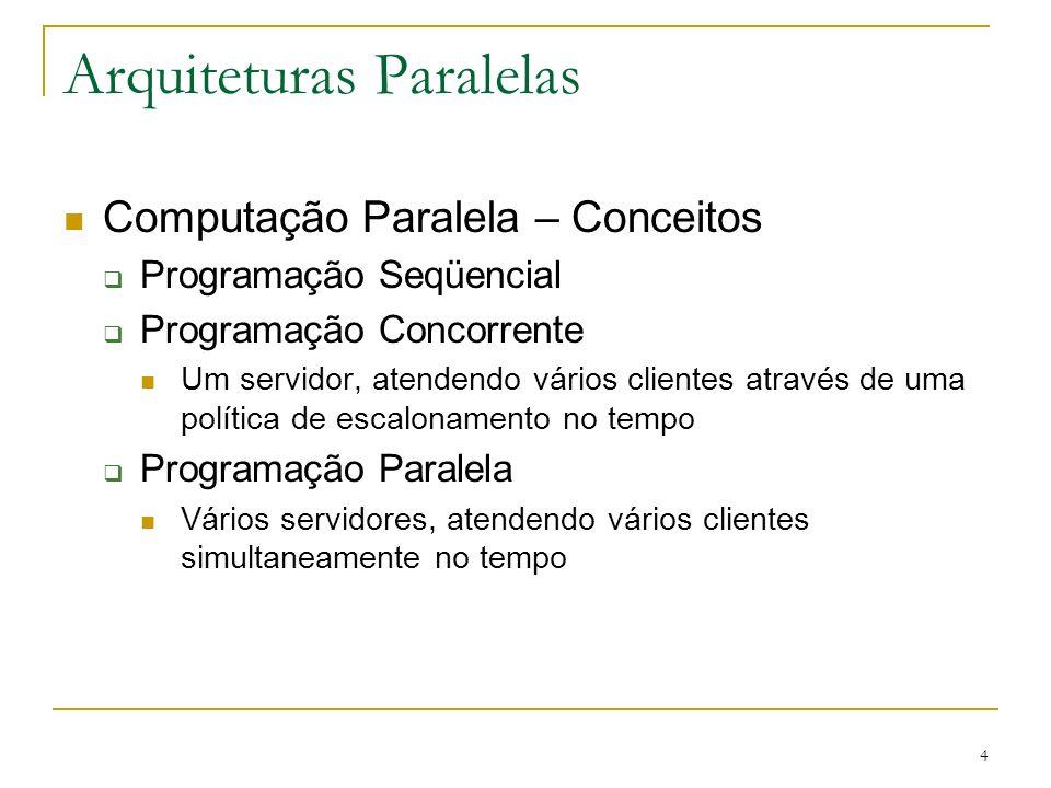 4 Arquiteturas Paralelas Computação Paralela – Conceitos Programação Seqüencial Programação Concorrente Um servidor, atendendo vários clientes através
