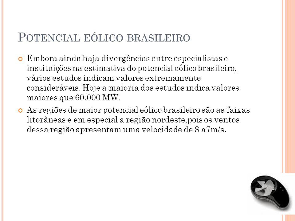 P OTENCIAL EÓLICO BRASILEIRO Embora ainda haja divergências entre especialistas e instituições na estimativa do potencial eólico brasileiro, vários es