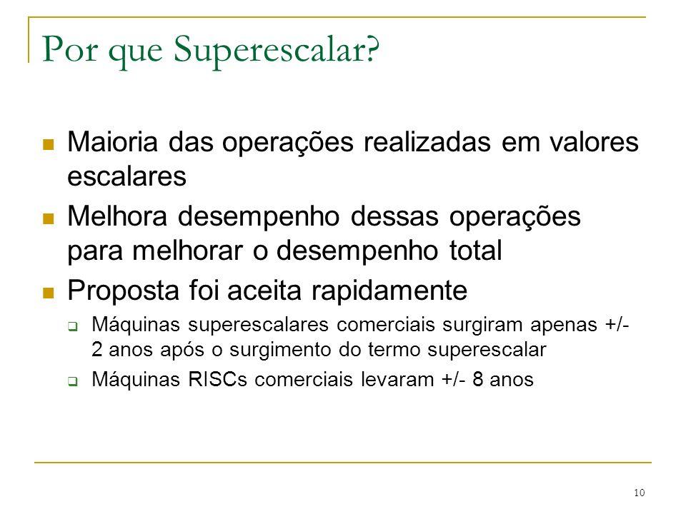 10 Por que Superescalar? Maioria das operações realizadas em valores escalares Melhora desempenho dessas operações para melhorar o desempenho total Pr
