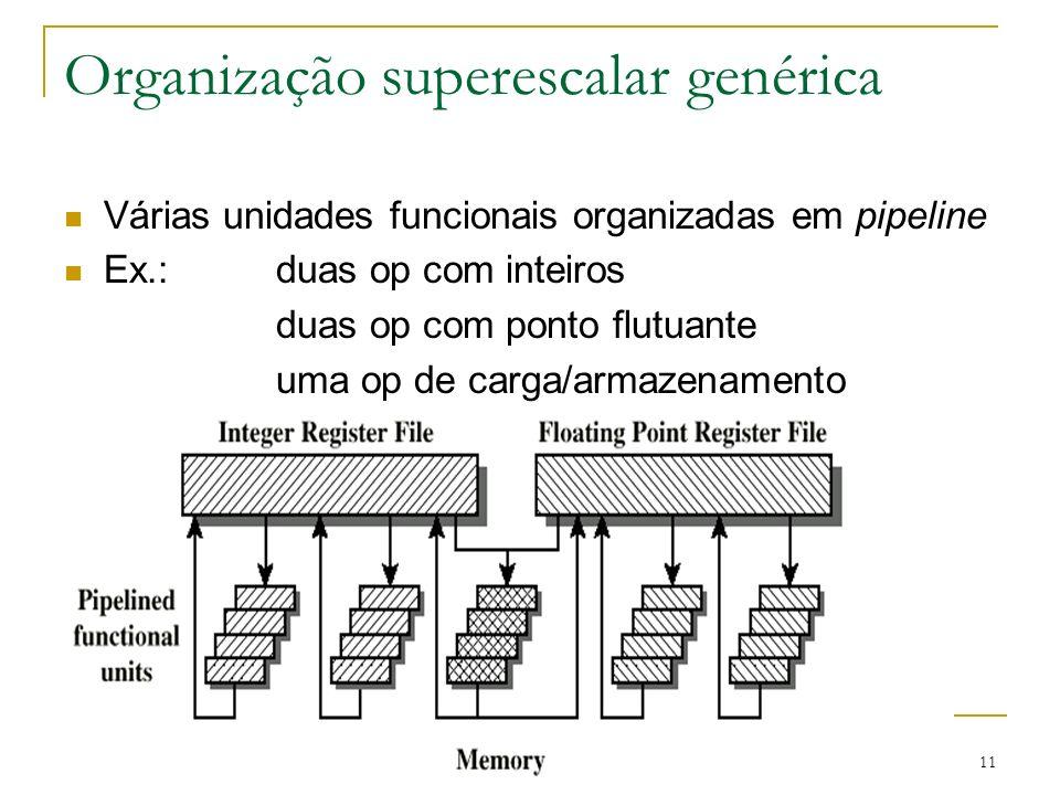 11 Organização superescalar genérica Várias unidades funcionais organizadas em pipeline Ex.: duas op com inteiros duas op com ponto flutuante uma op d