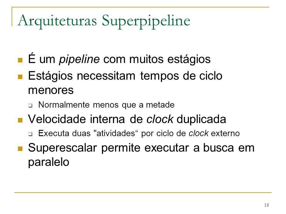 18 Arquiteturas Superpipeline É um pipeline com muitos estágios Estágios necessitam tempos de ciclo menores Normalmente menos que a metade Velocidade