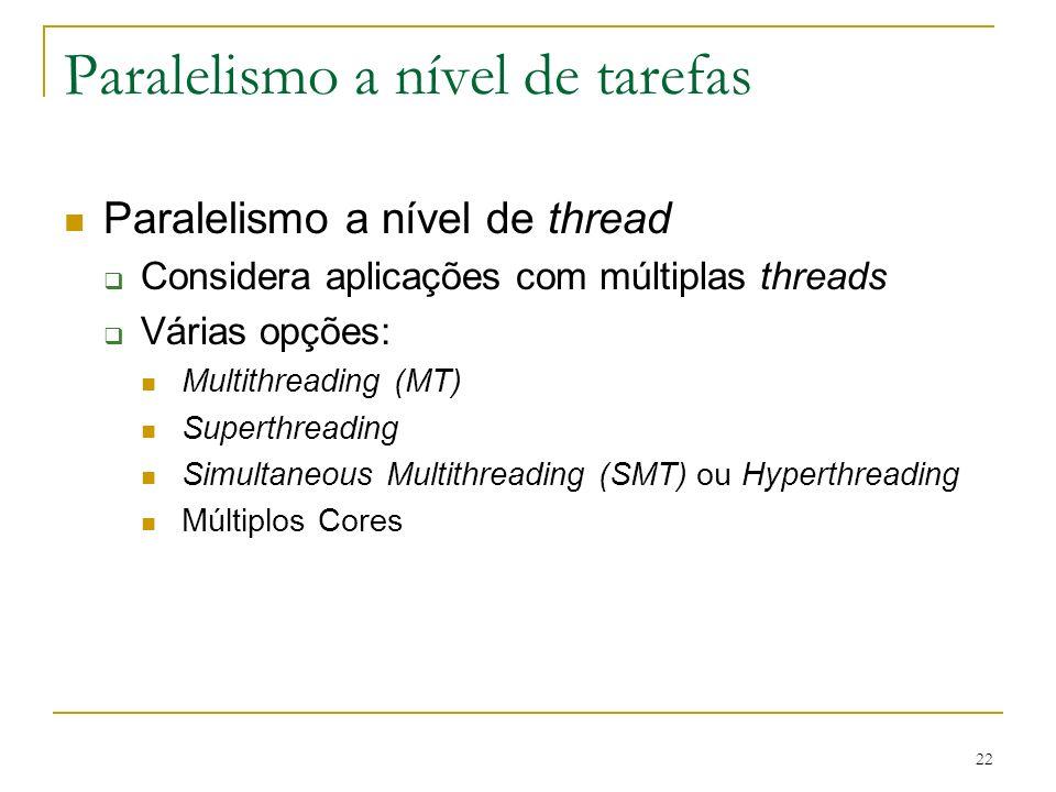 22 Paralelismo a nível de tarefas Paralelismo a nível de thread Considera aplicações com múltiplas threads Várias opções: Multithreading (MT) Superthr