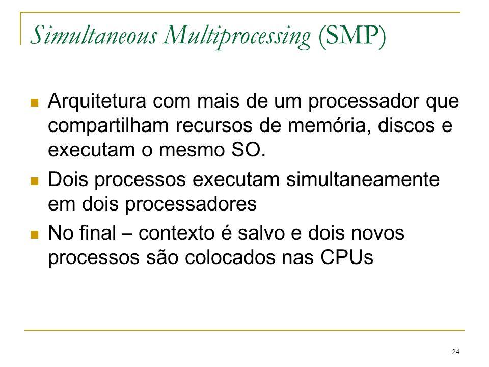 24 Simultaneous Multiprocessing (SMP) Arquitetura com mais de um processador que compartilham recursos de memória, discos e executam o mesmo SO. Dois