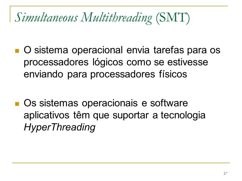 37 Simultaneous Multithreading (SMT) O sistema operacional envia tarefas para os processadores lógicos como se estivesse enviando para processadores f