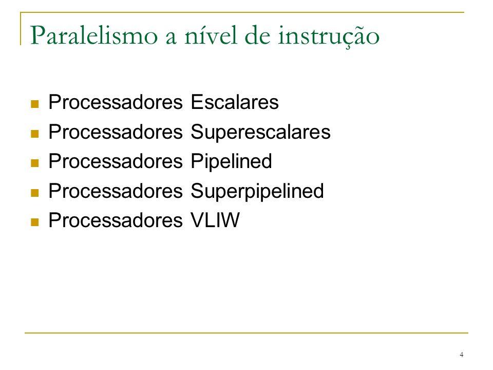 4 Paralelismo a nível de instrução Processadores Escalares Processadores Superescalares Processadores Pipelined Processadores Superpipelined Processad