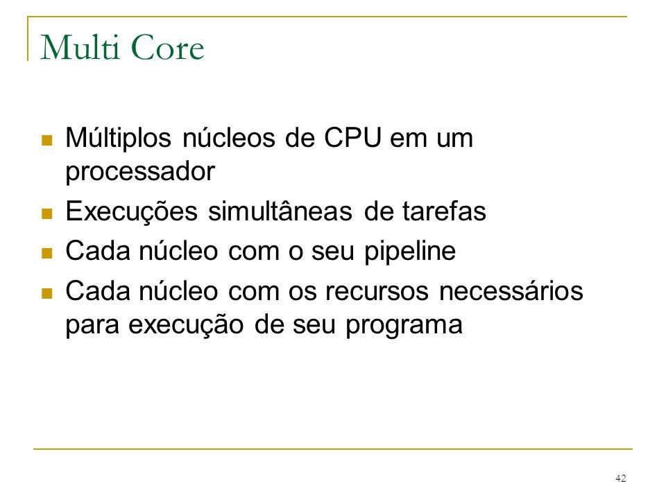 42 Multi Core Múltiplos núcleos de CPU em um processador Execuções simultâneas de tarefas Cada núcleo com o seu pipeline Cada núcleo com os recursos n