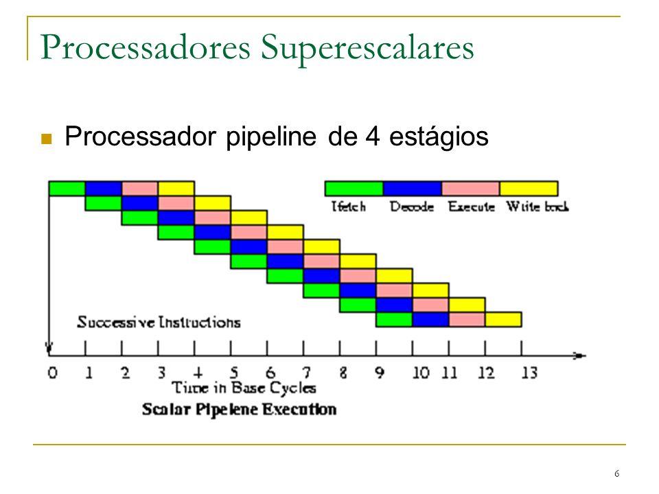 47 Comparando Núcleos podem usar SMT ou não Possíveis combinações: Um único núcleo, sem SMT (processador normal) Um único núcleo, com SMT Mútiplos núcleos, sem SMT Mútliplos núcleos, com SMT Números de possíveis threads simultaneamente: 2, 4, ou 8
