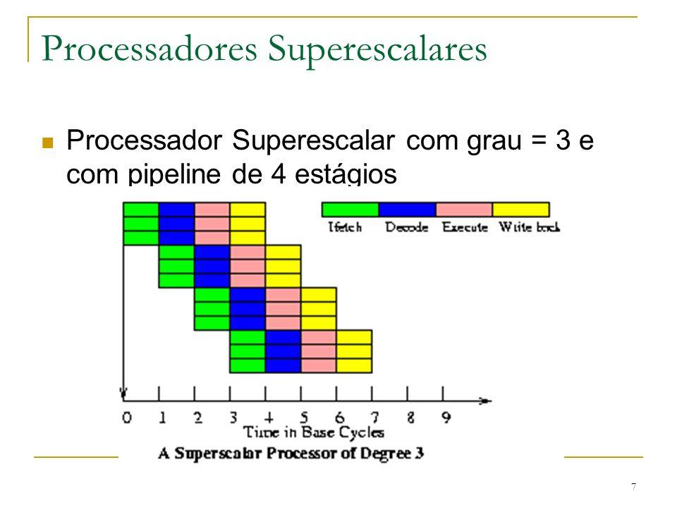 18 Arquiteturas Superpipeline É um pipeline com muitos estágios Estágios necessitam tempos de ciclo menores Normalmente menos que a metade Velocidade interna de clock duplicada Executa duas atividades por ciclo de clock externo Superescalar permite executar a busca em paralelo
