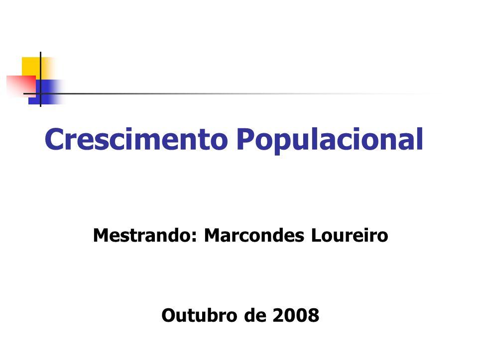 Crescimento Populacional Mestrando: Marcondes Loureiro Outubro de 2008