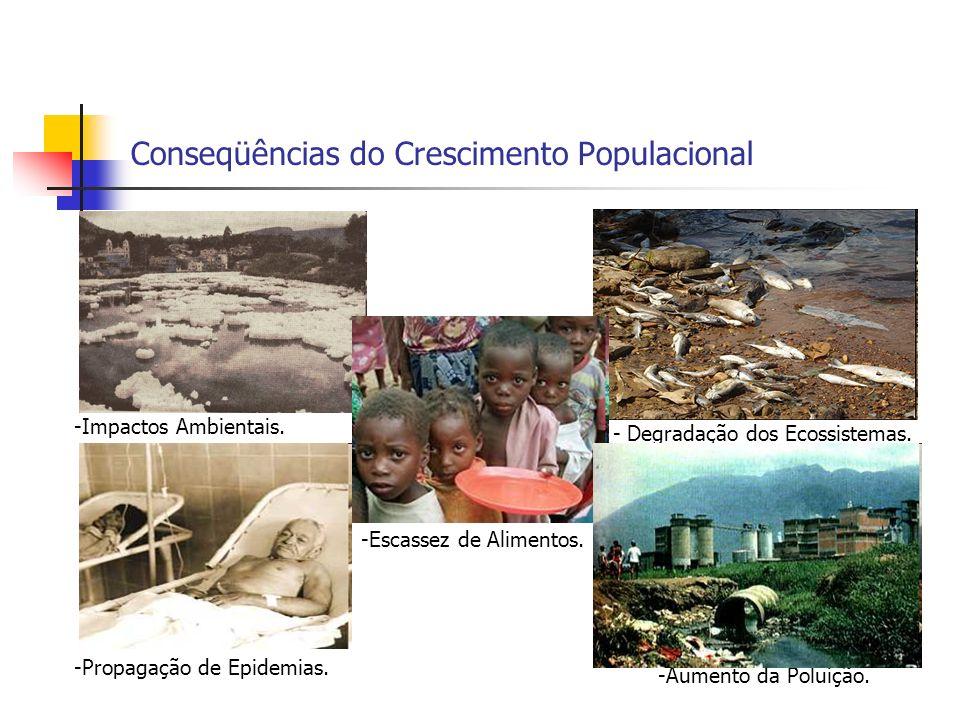 Conseqüências do Crescimento Populacional -Escassez de Alimentos. -Aumento da Poluição. - Degradação dos Ecossistemas. -Impactos Ambientais. -Propagaç