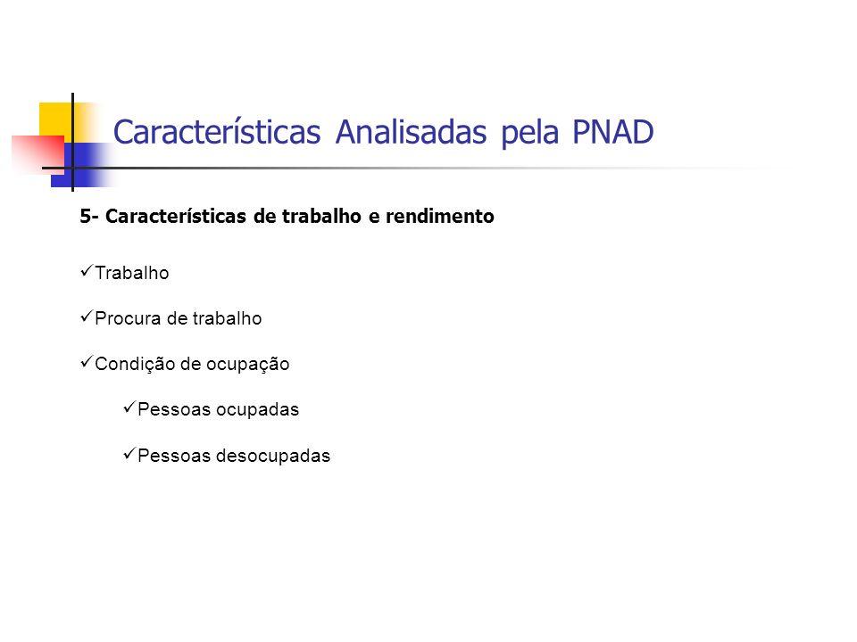 Características Analisadas pela PNAD 5- Características de trabalho e rendimento Trabalho Procura de trabalho Condição de ocupação Pessoas ocupadas Pe