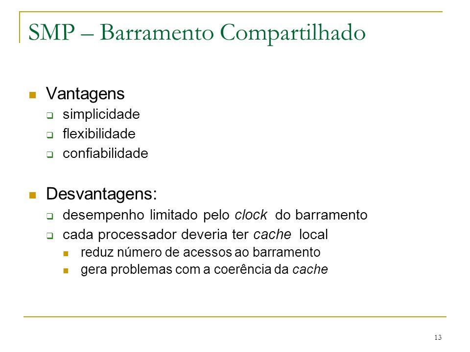 13 SMP – Barramento Compartilhado Vantagens simplicidade flexibilidade confiabilidade Desvantagens: desempenho limitado pelo clock do barramento cada