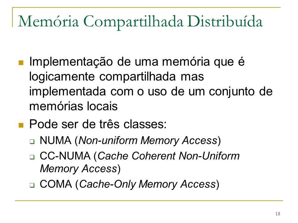 18 Memória Compartilhada Distribuída Implementação de uma memória que é logicamente compartilhada mas implementada com o uso de um conjunto de memória