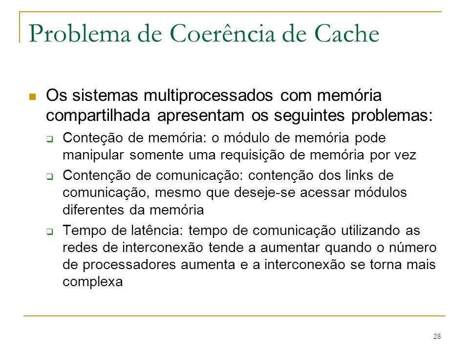 28 Problema de Coerência de Cache Os sistemas multiprocessados com memória compartilhada apresentam os seguintes problemas: Conteção de memória: o mód