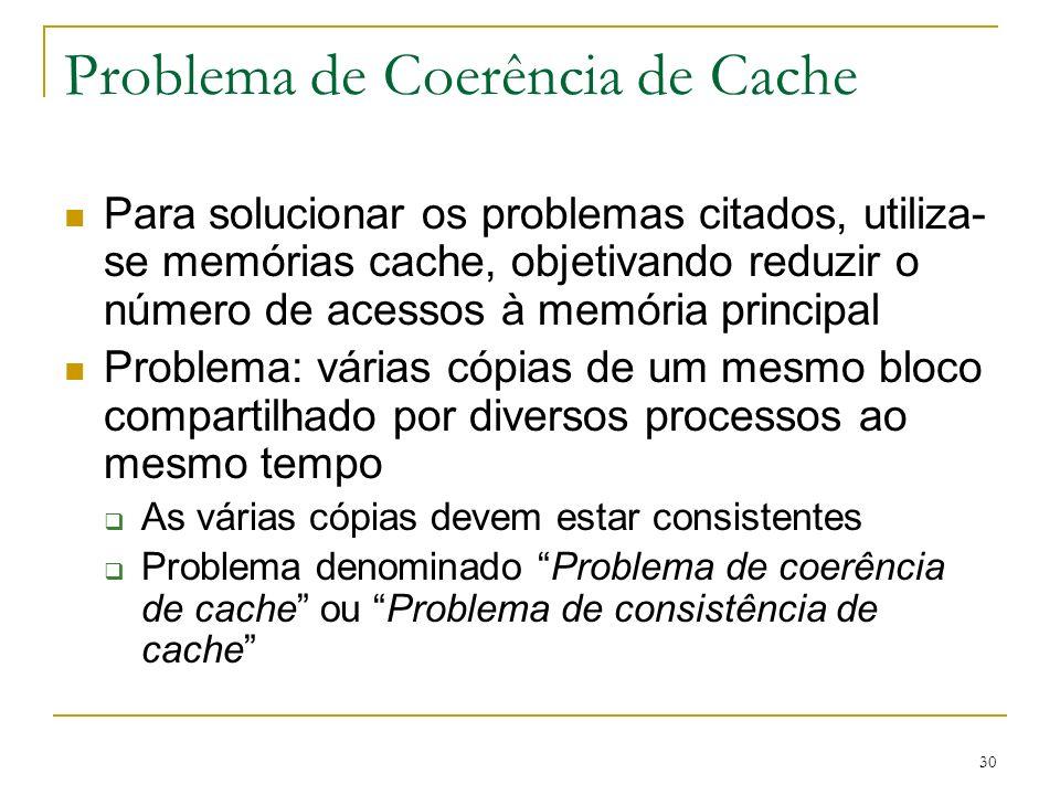 30 Problema de Coerência de Cache Para solucionar os problemas citados, utiliza- se memórias cache, objetivando reduzir o número de acessos à memória