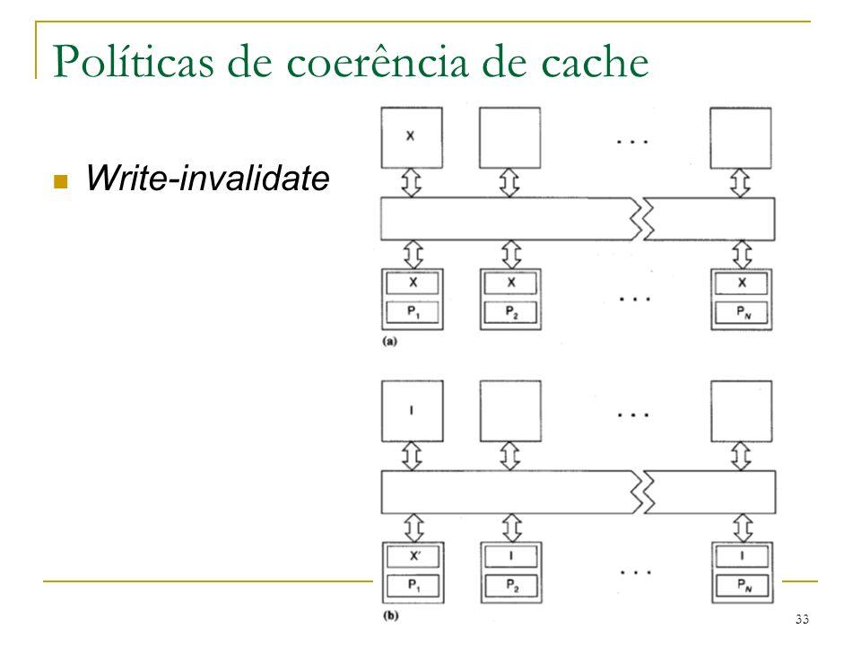 33 Políticas de coerência de cache Write-invalidate