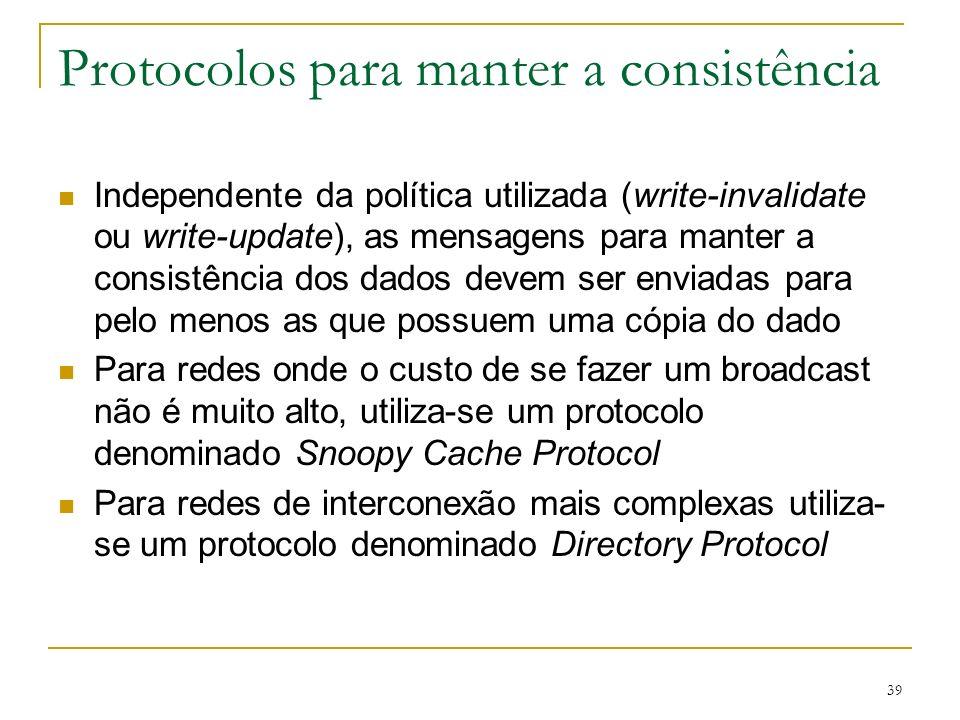 39 Protocolos para manter a consistência Independente da política utilizada (write-invalidate ou write-update), as mensagens para manter a consistênci