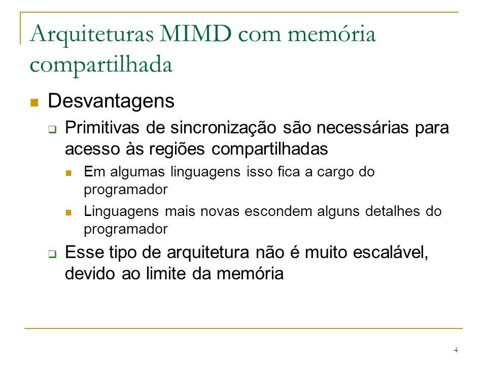 4 Arquiteturas MIMD com memória compartilhada Desvantagens Primitivas de sincronização são necessárias para acesso às regiões compartilhadas Em alguma