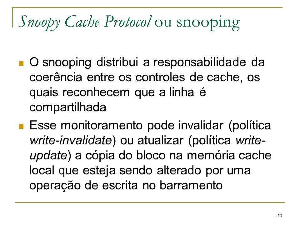 40 Snoopy Cache Protocol ou snooping O snooping distribui a responsabilidade da coerência entre os controles de cache, os quais reconhecem que a linha
