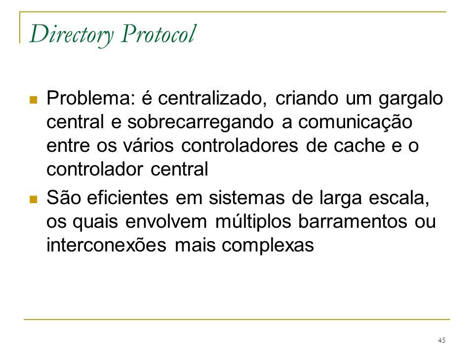 45 Directory Protocol Problema: é centralizado, criando um gargalo central e sobrecarregando a comunicação entre os vários controladores de cache e o