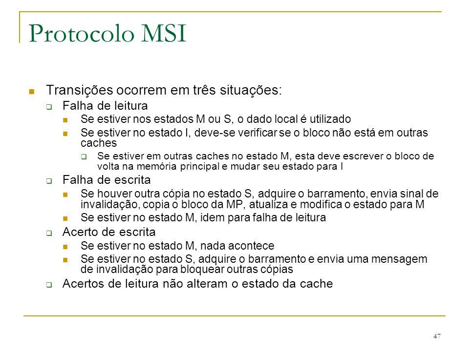 47 Protocolo MSI Transições ocorrem em três situações: Falha de leitura Se estiver nos estados M ou S, o dado local é utilizado Se estiver no estado I