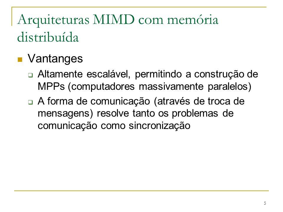 5 Arquiteturas MIMD com memória distribuída Vantanges Altamente escalável, permitindo a construção de MPPs (computadores massivamente paralelos) A for