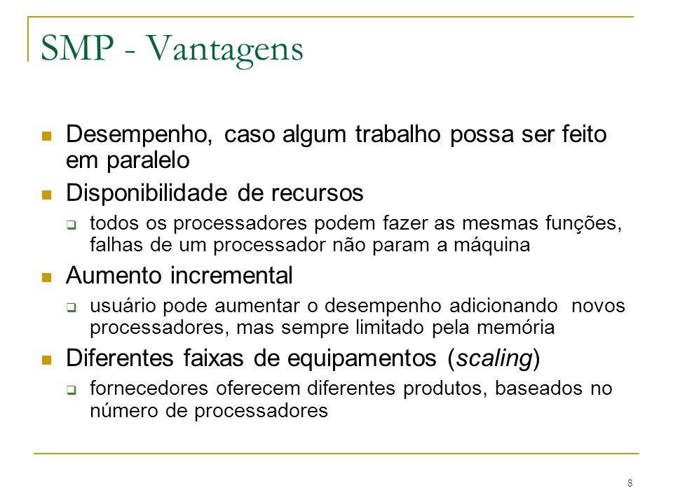8 SMP - Vantagens Desempenho, caso algum trabalho possa ser feito em paralelo Disponibilidade de recursos todos os processadores podem fazer as mesmas