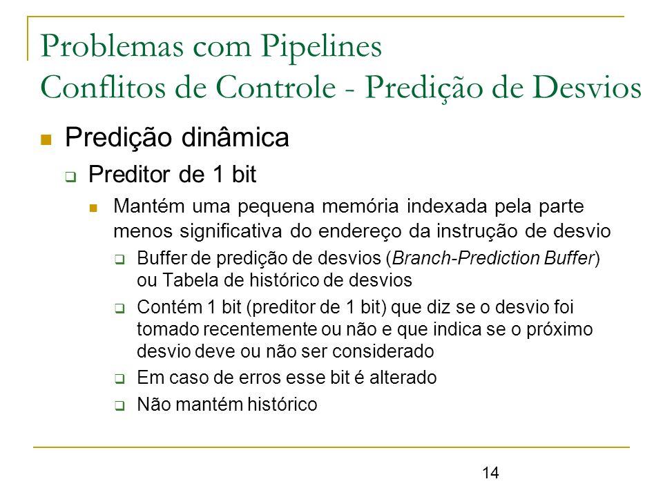 14 Problemas com Pipelines Conflitos de Controle - Predição de Desvios Predição dinâmica Preditor de 1 bit Mantém uma pequena memória indexada pela pa
