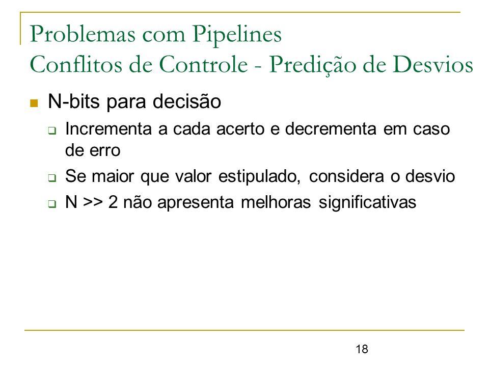18 Problemas com Pipelines Conflitos de Controle - Predição de Desvios N-bits para decisão Incrementa a cada acerto e decrementa em caso de erro Se ma