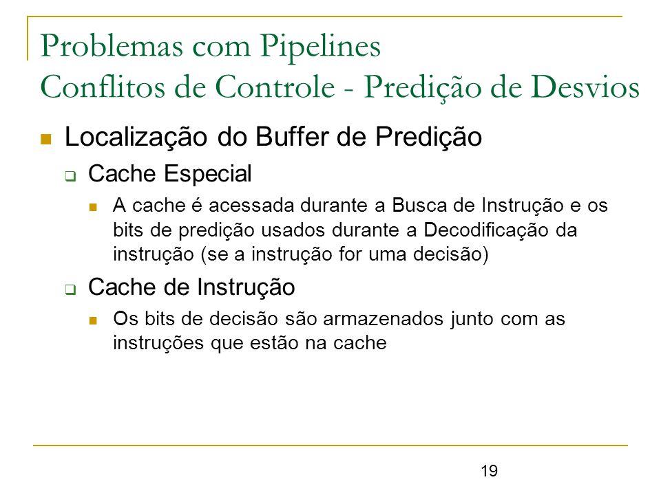 19 Problemas com Pipelines Conflitos de Controle - Predição de Desvios Localização do Buffer de Predição Cache Especial A cache é acessada durante a B