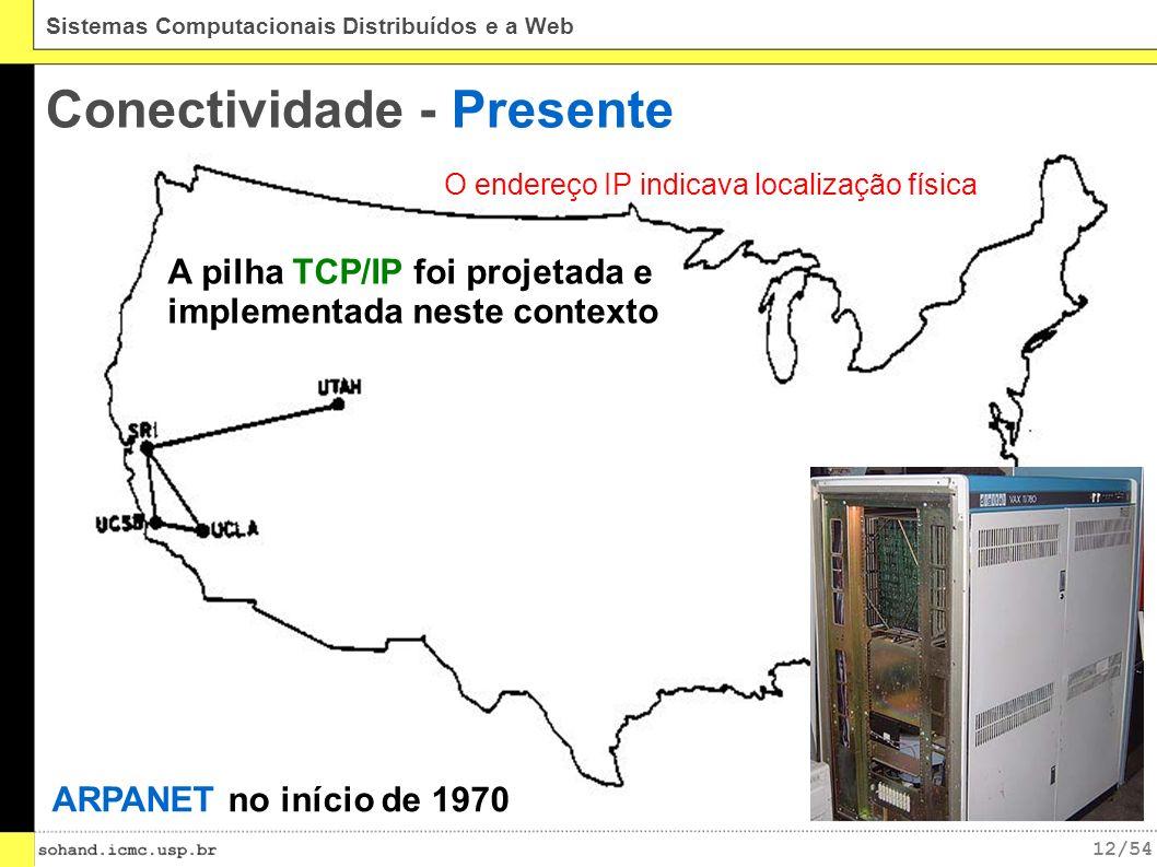 12/54 Sistemas Computacionais Distribuídos e a Web Conectividade - Presente ARPANET no início de 1970 A pilha TCP/IP foi projetada e implementada neste contexto O endereço IP indicava localização física