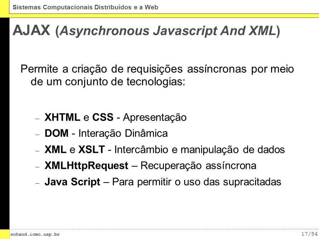 17/54 Sistemas Computacionais Distribuídos e a Web AJAX (Asynchronous Javascript And XML) Permite a criação de requisições assíncronas por meio de um conjunto de tecnologias: XHTML e CSS - Apresentação DOM - Interação Dinâmica XML e XSLT - Intercâmbio e manipulação de dados XMLHttpRequest – Recuperação assíncrona Java Script – Para permitir o uso das supracitadas