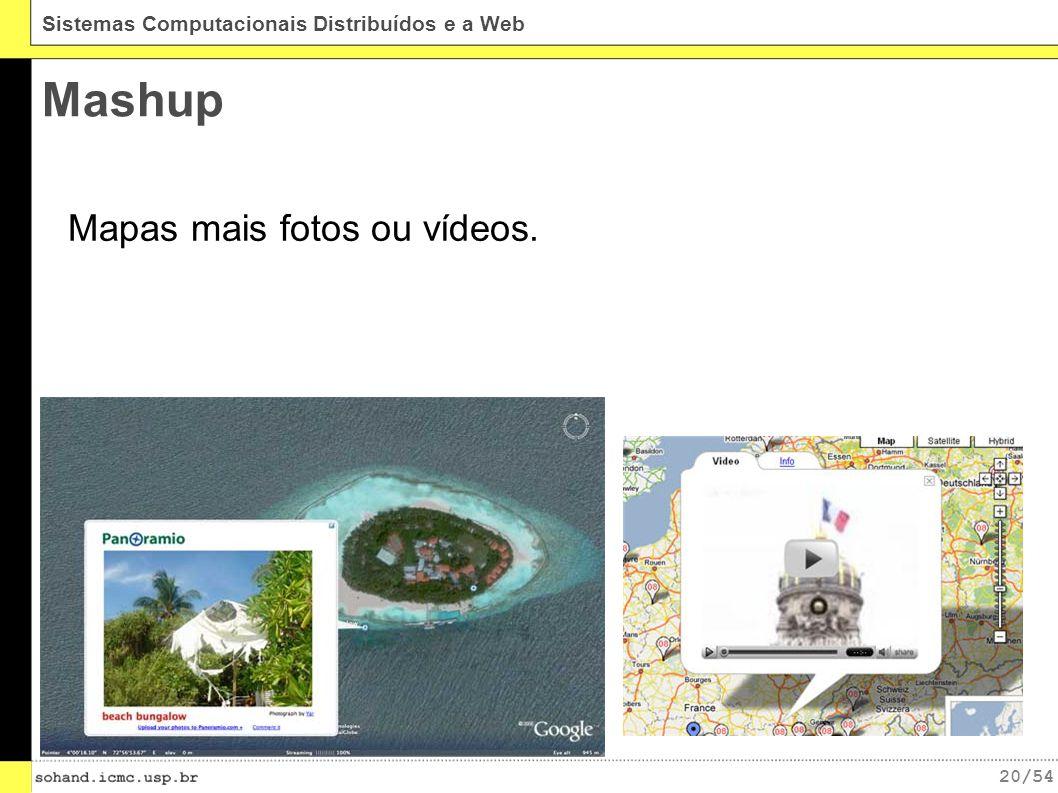 20/54 Sistemas Computacionais Distribuídos e a Web Mashup Mapas mais fotos ou vídeos.