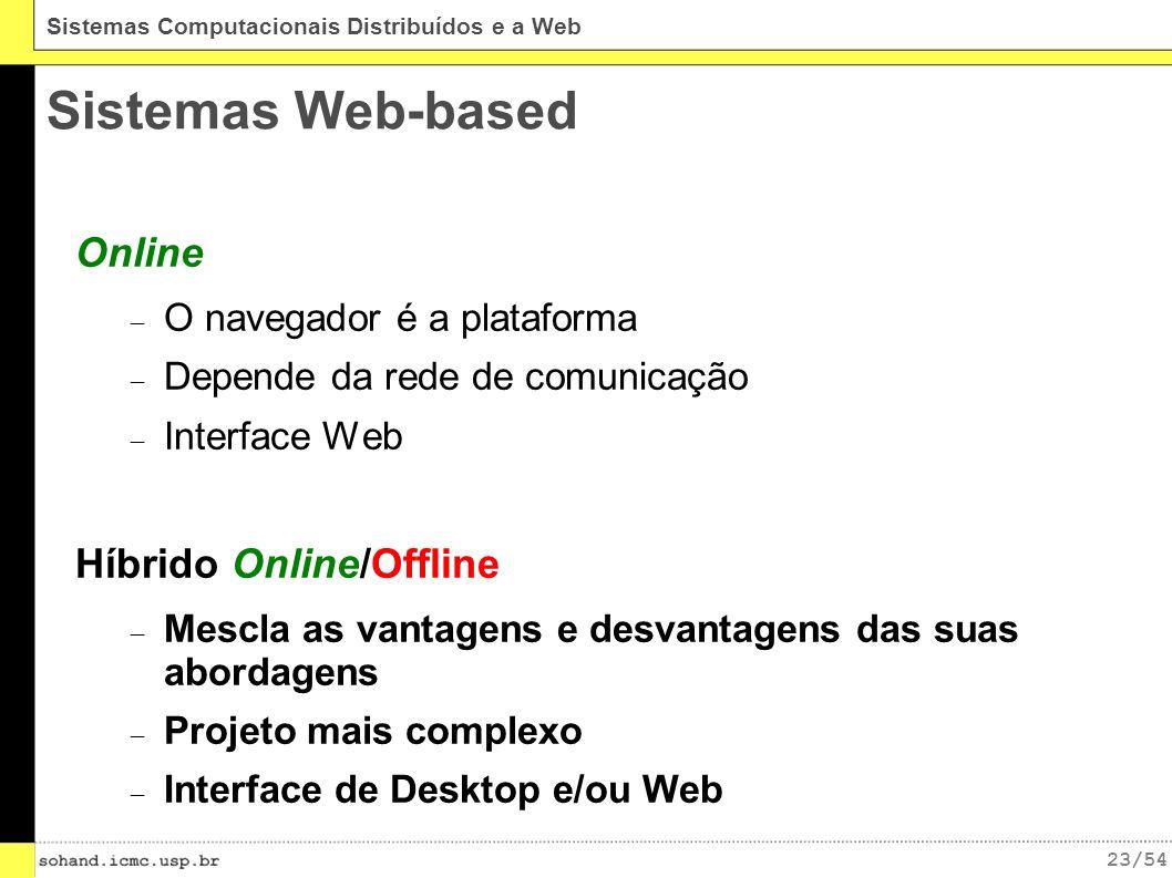 23/54 Sistemas Computacionais Distribuídos e a Web Sistemas Web-based Online O navegador é a plataforma Depende da rede de comunicação Interface Web Híbrido Online/Offline Mescla as vantagens e desvantagens das suas abordagens Projeto mais complexo Interface de Desktop e/ou Web
