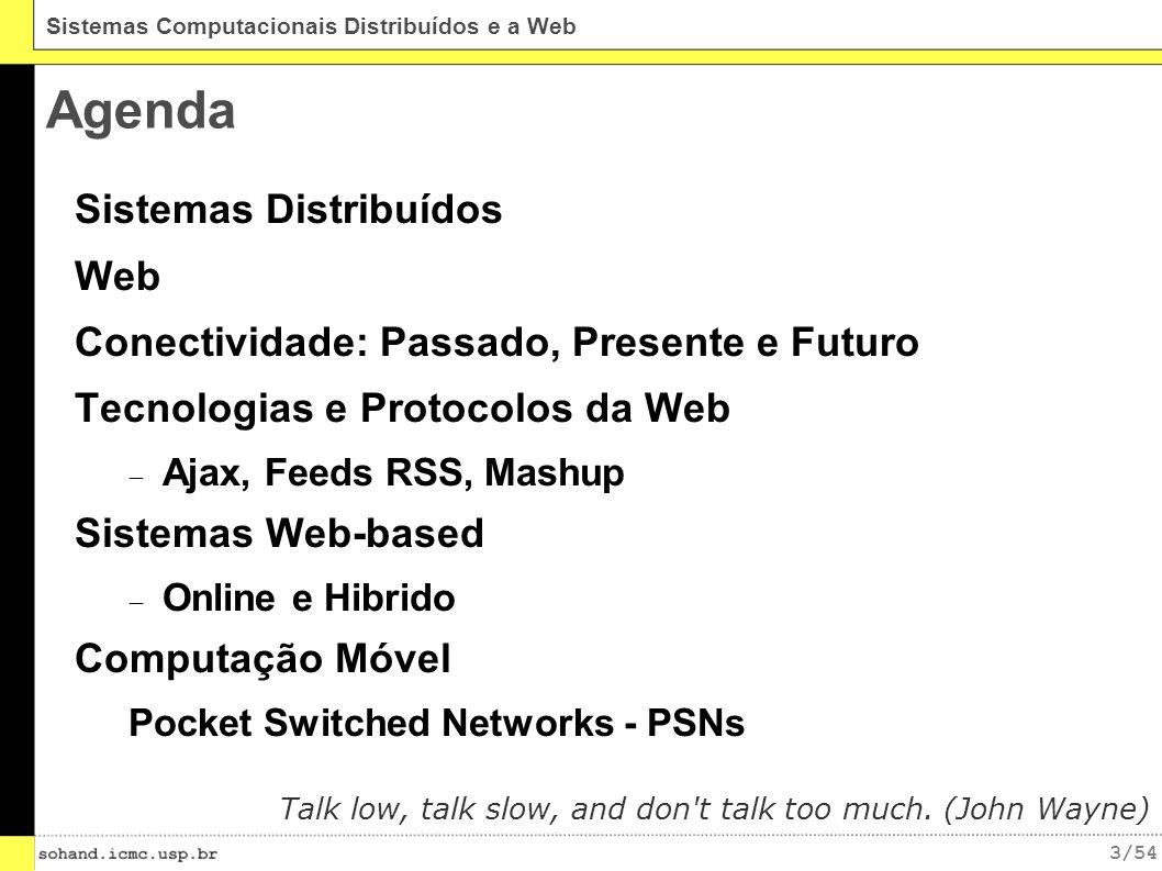 24/54 Sistemas Computacionais Distribuídos e a Web Sistemas Web online Todos os dados requisitados devem ser recuperados em um servidor na Internet Projeto simples Fácil programação Utilização ineficiente da rede IMG SRC: http://code.google.com/apis/gears/architecture.html