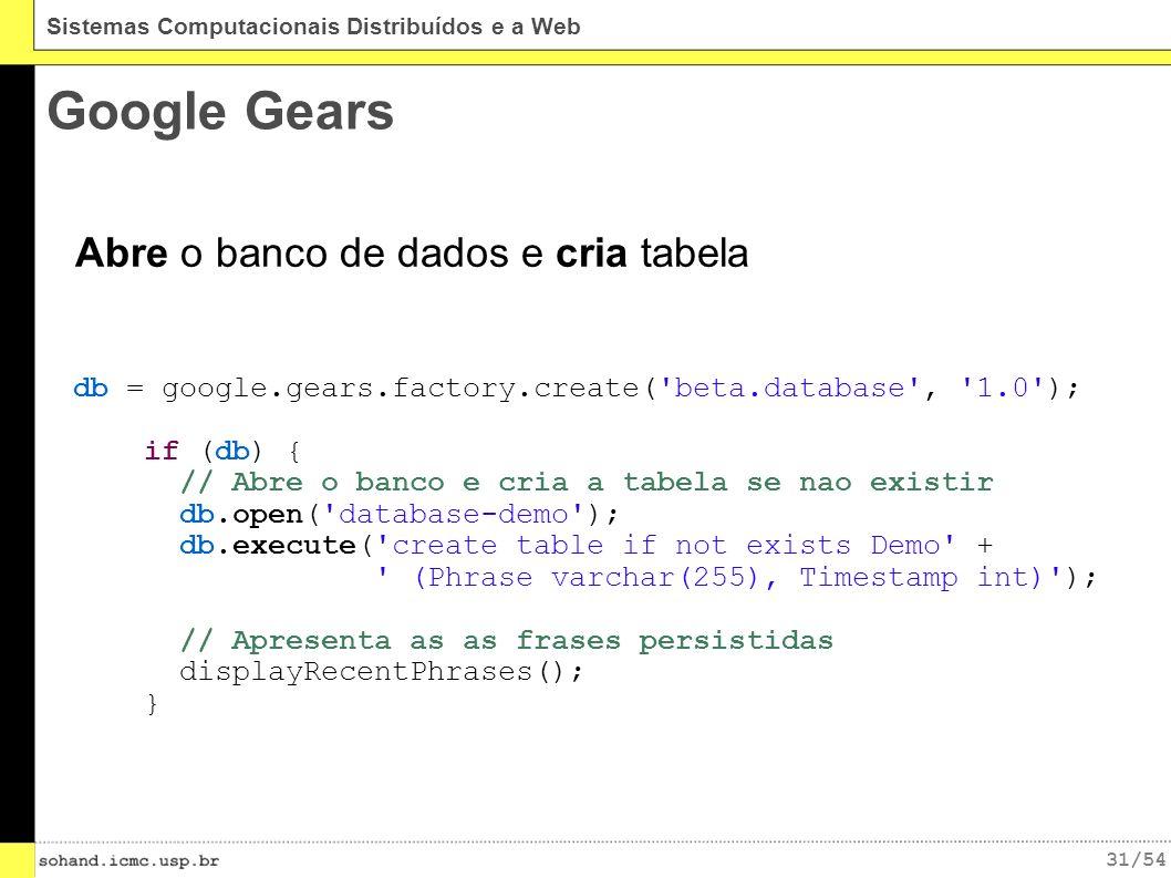 31/54 Sistemas Computacionais Distribuídos e a Web Google Gears db = google.gears.factory.create( beta.database , 1.0 ); if (db) { // Abre o banco e cria a tabela se nao existir db.open( database-demo ); db.execute( create table if not exists Demo + (Phrase varchar(255), Timestamp int) ); // Apresenta as as frases persistidas displayRecentPhrases(); } Abre o banco de dados e cria tabela