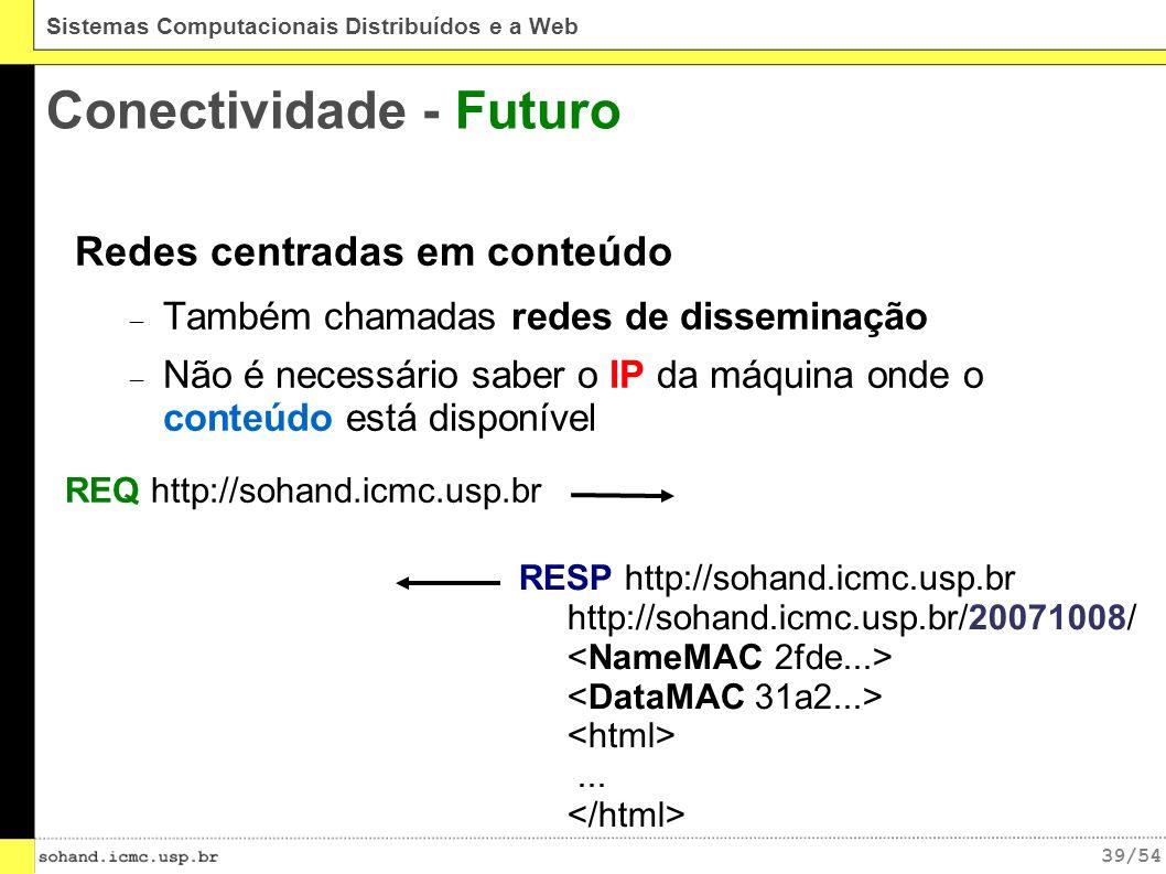 39/54 Sistemas Computacionais Distribuídos e a Web Conectividade - Futuro Redes centradas em conteúdo Também chamadas redes de disseminação Não é necessário saber o IP da máquina onde o conteúdo está disponível REQ http://sohand.icmc.usp.br RESP http://sohand.icmc.usp.br http://sohand.icmc.usp.br/20071008/...