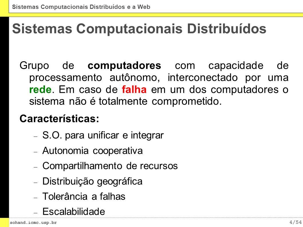 4/54 Sistemas Computacionais Distribuídos e a Web Sistemas Computacionais Distribuídos Grupo de computadores com capacidade de processamento autônomo, interconectado por uma rede.