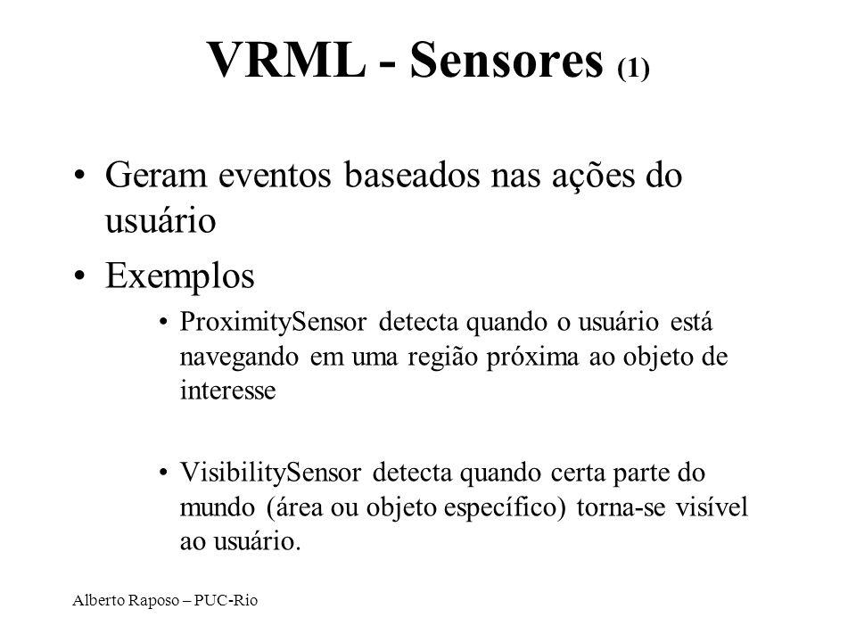 Alberto Raposo – PUC-Rio VRML - Sensores (1) Geram eventos baseados nas ações do usuário Exemplos ProximitySensor detecta quando o usuário está navega