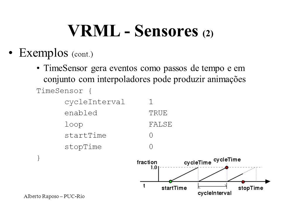 Alberto Raposo – PUC-Rio VRML - Sensores (2) Exemplos (cont.) TimeSensor gera eventos como passos de tempo e em conjunto com interpoladores pode produ