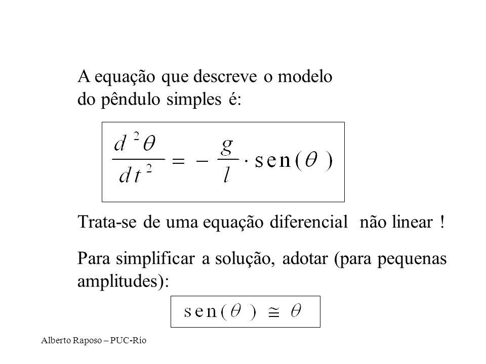 Alberto Raposo – PUC-Rio A equação que descreve o modelo do pêndulo simples é: Trata-se de uma equação diferencial não linear ! Para simplificar a sol