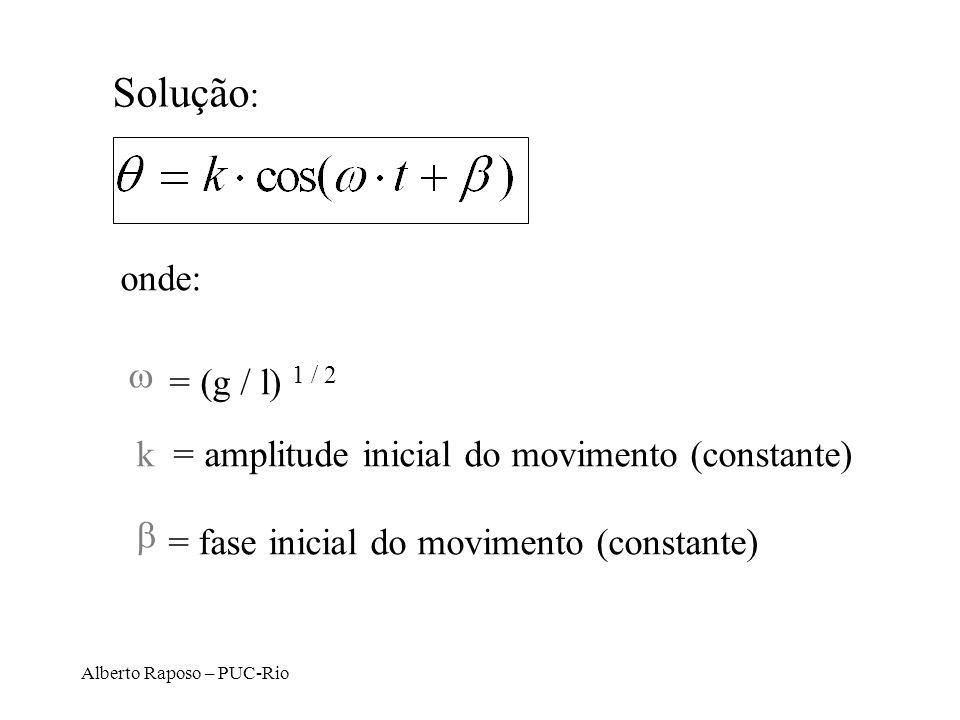 Alberto Raposo – PUC-Rio Solução : onde: = (g / l) 1 / 2 k = amplitude inicial do movimento (constante) = fase inicial do movimento (constante)