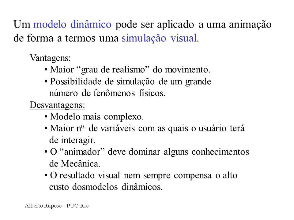 Alberto Raposo – PUC-Rio Um modelo dinâmico pode ser aplicado a uma animação de forma a termos uma simulação visual. Vantagens: Maior grau de realismo