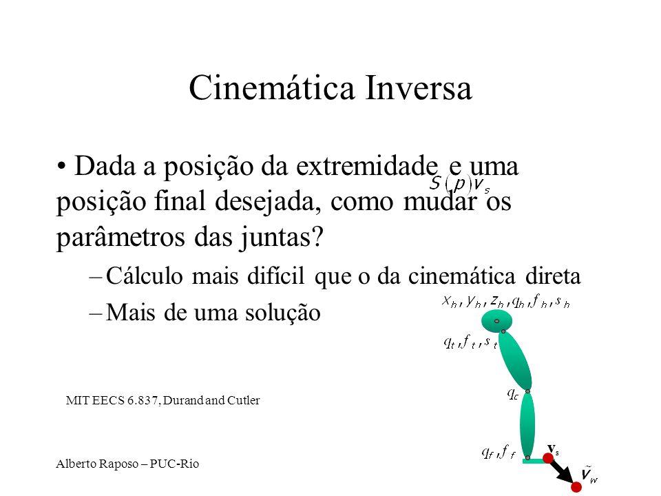 Alberto Raposo – PUC-Rio Cinemática Inversa Dada a posição da extremidade e uma posição final desejada, como mudar os parâmetros das juntas? –Cálculo
