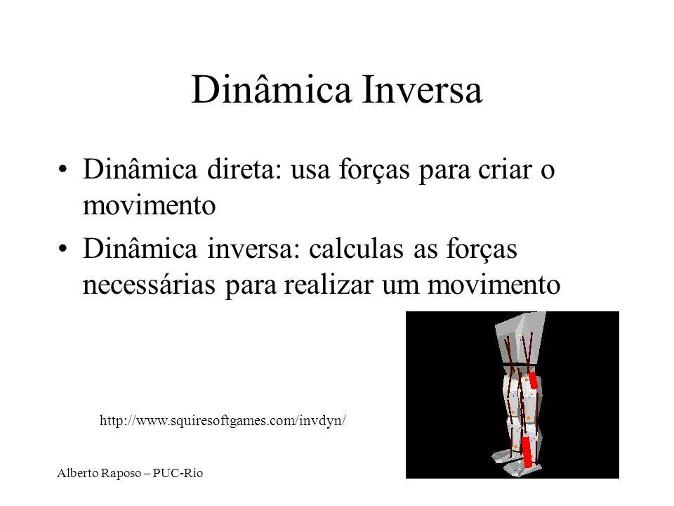 Alberto Raposo – PUC-Rio Dinâmica Inversa Dinâmica direta: usa forças para criar o movimento Dinâmica inversa: calculas as forças necessárias para rea