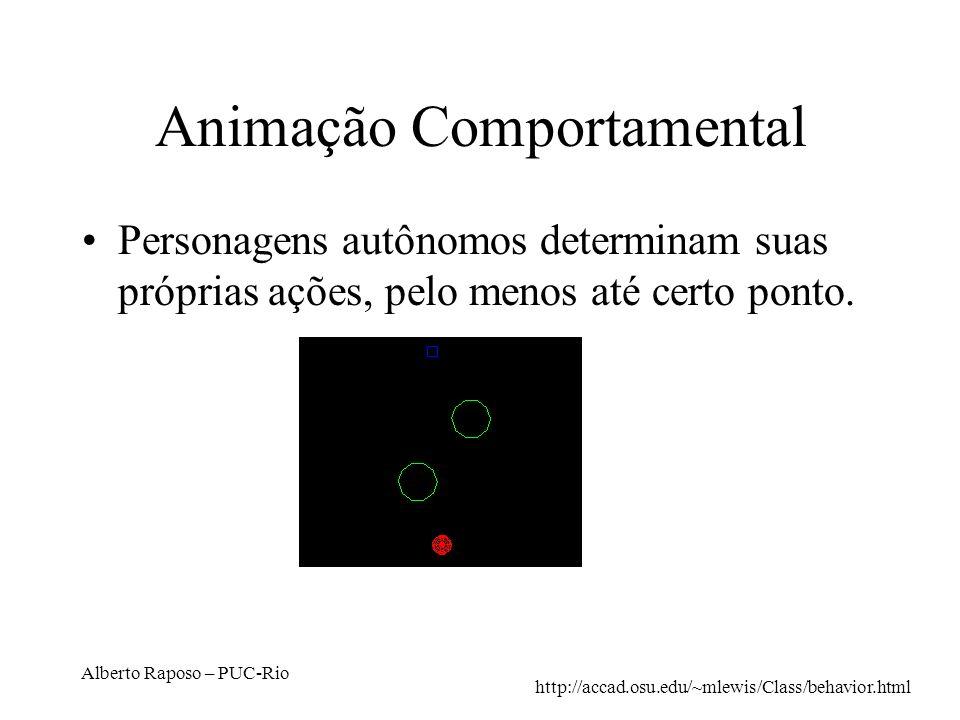 Alberto Raposo – PUC-Rio Animação Comportamental Personagens autônomos determinam suas próprias ações, pelo menos até certo ponto. http://accad.osu.ed